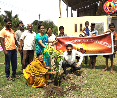 Sapling plantation at village Dudhgaon, Sangli on the occasion of World Environment Day.