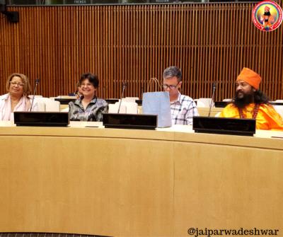 Shree Shree Shree Sadguru Bhau Maharaj ji at International conference at United Nations headquarter at New York.